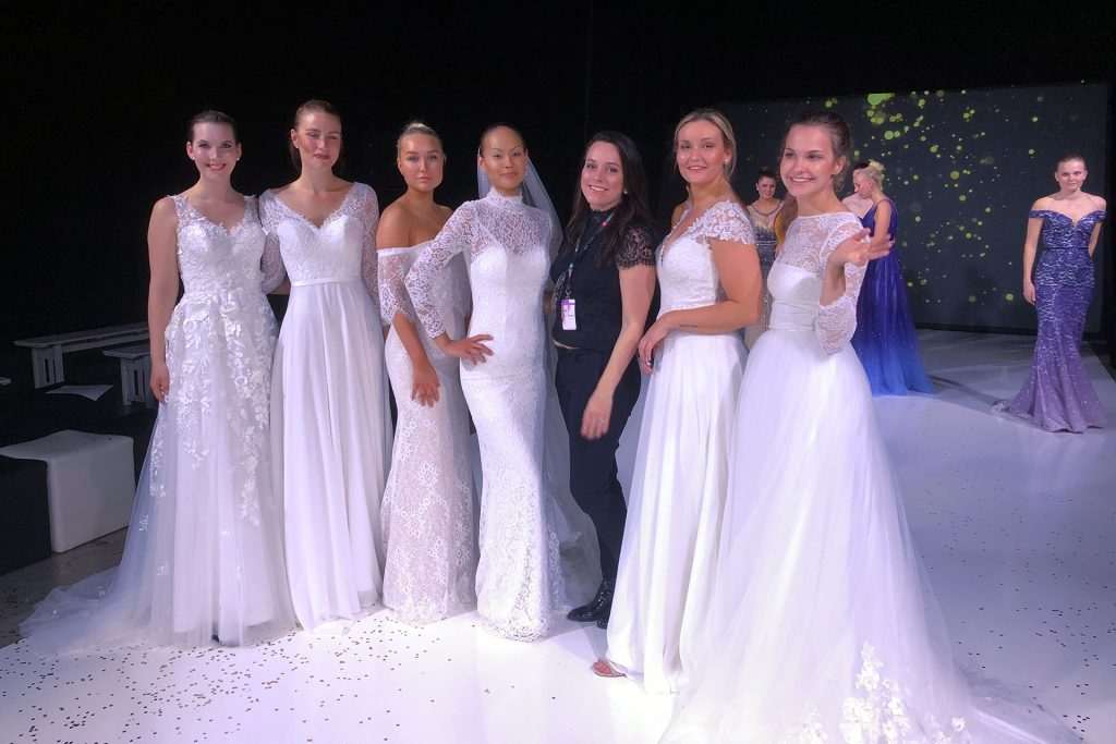 Helena Grandby with models at Nordic Bridal Show